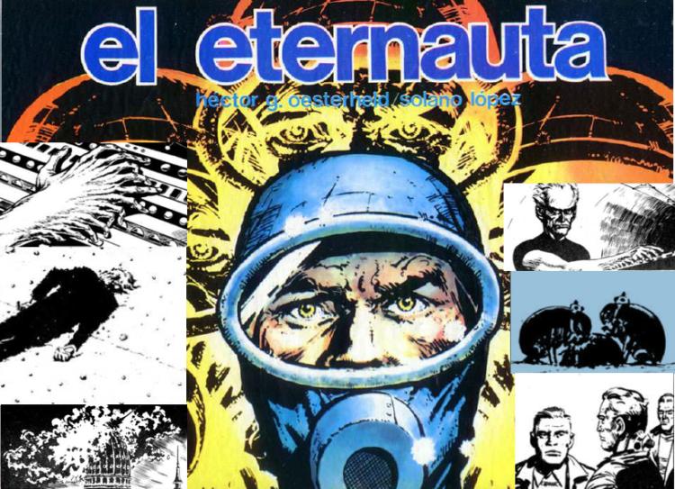 Imagem da capa da primeira edição do Eternauta e algumas imagens da HQ