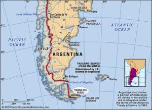Mapa do sul do continente incluindo Patagonia, Ilhas Malvinas e Tierra del Fuego
